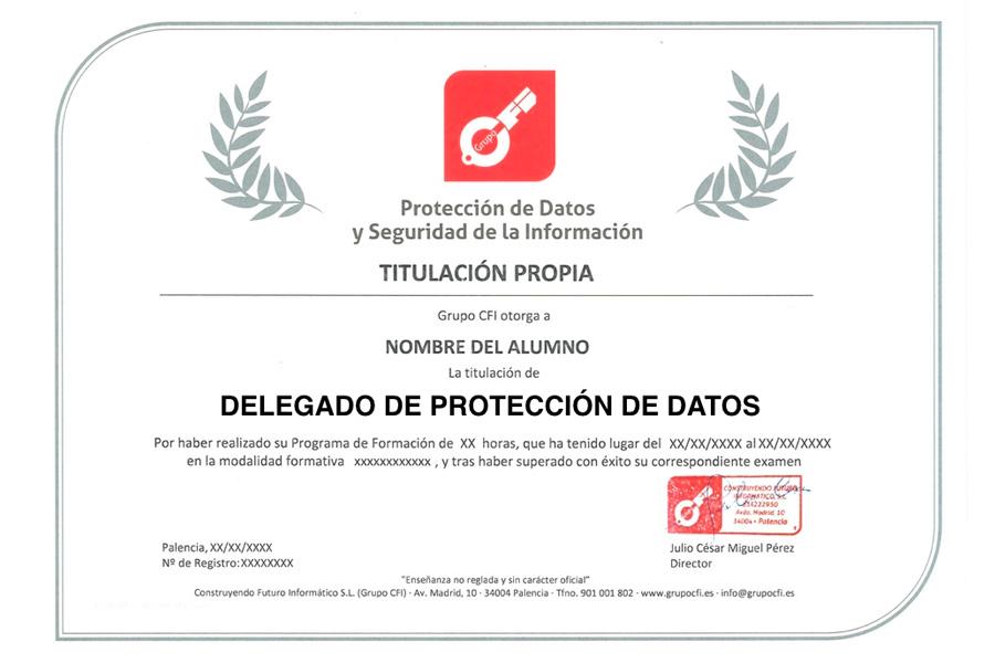 Titulo Delegado Protección Datos